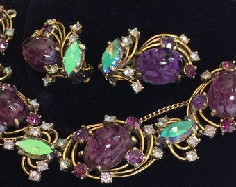 Stunning Vintage Schiaparelli Bracelet & Earrings Set~Art Glass/Rhinestones/Goldtone~Signed