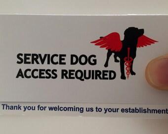 Service Dog Information Cards