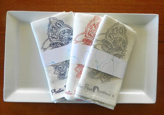 Ten hand printed, 100% linen tea-towels at wholesale price. Please contact me to discuss designs and colours.
