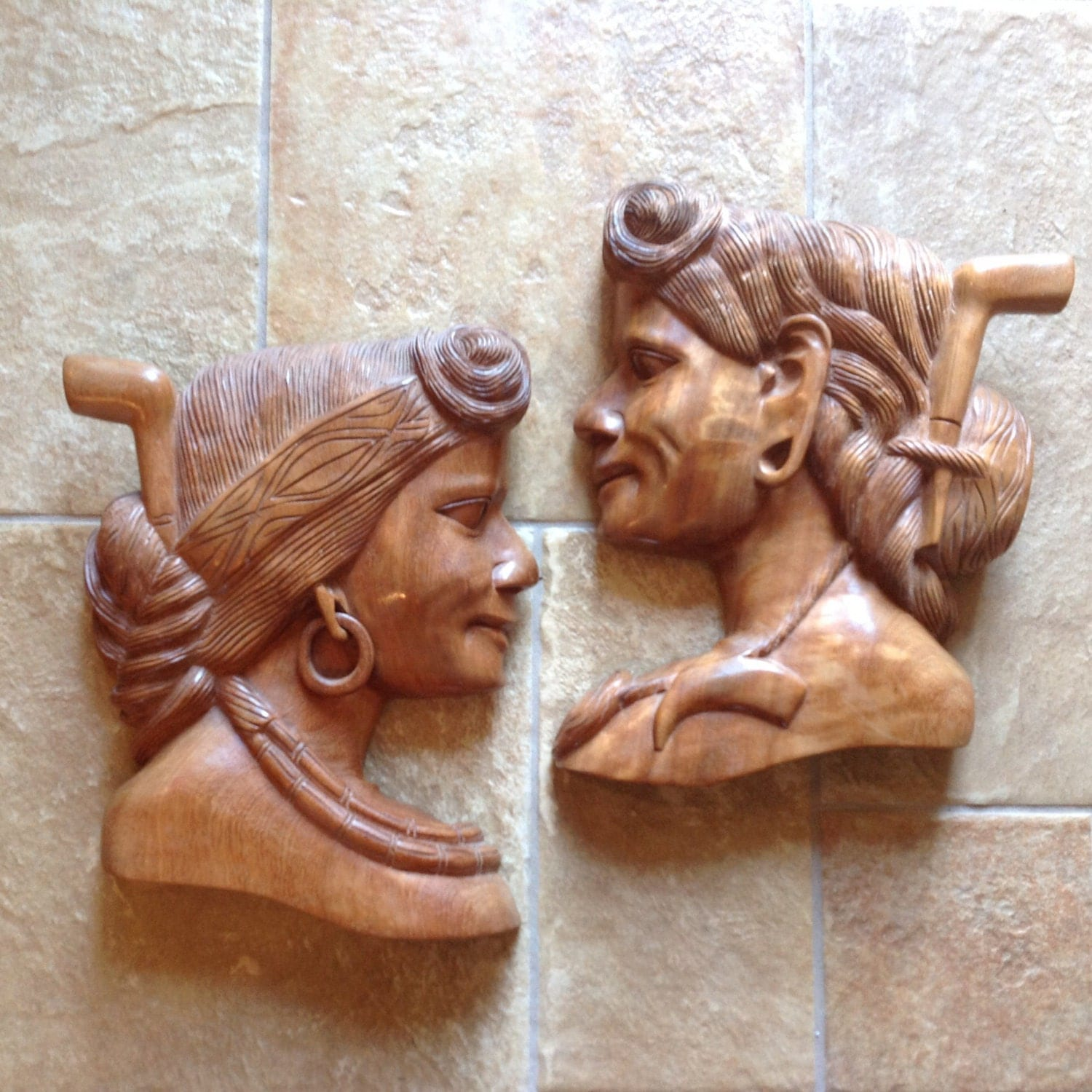 Carved wood female bust wall hanging set of by