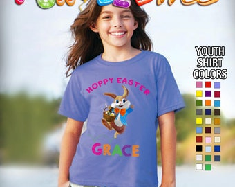Hoppy Easter T-Shirt - Girls - Youth - Personlized with Name