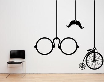 Hanging Vintage Spectacles, Bicylce and Moustache Wall Decal Sticker Art - Any Colour or Size (#9)