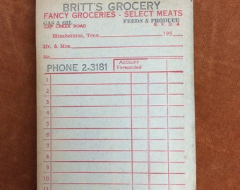Vintage receipt book Britt's Grocery with carbon sheets Elizabethton Tennessee