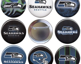 Seattle Seahawks Set of 8 Pinback Buttons, Magnets or Flatbacks, Football Pins Badges, NFL