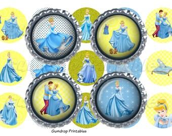 "40%OFF Buy 3 Get 1 FREE ~ Cinderella Princess Bottlecap Bottle Cap Images ~ Instant Download ~ 1"" Circle ~ Hairbow Centers ~ Printable Image"
