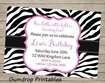 Zebra Printable Birthday Invitation ~ Personalized with Your Party Details ~ Digital Print Yourself ~ Girls Birthday Party ~ Wild Birthday