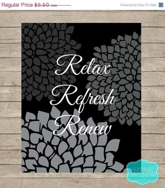 On sale relax refresh renew bathroom wall art by for Relax bathroom wall decor