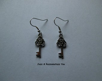 Handcrafted Antique Silver Key Earrings
