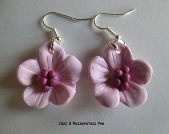 Handcrafted Fimo Cherry Blossom Earrings