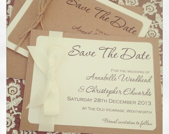 1 x Rustic/Vintage Annabelle Wedding save the date sample with envelope