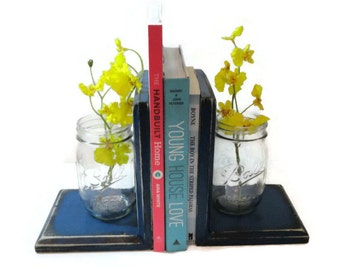 Mason jar bookends choose your color rustic wood by for Mason jar bookends