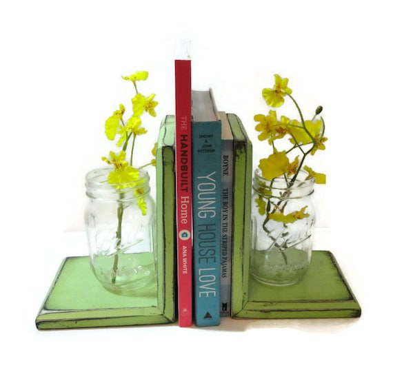 Items similar to mason jar bookends choose your color for Mason jar bookends