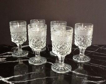 Mid Century Anchor Hocking Wexford Cordial Glasses, Set of 6, Retro Barware