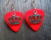 Crown Charm Guitar Pick Earrings - Pick Your Color, Royal, Price, Princess, King, Queen