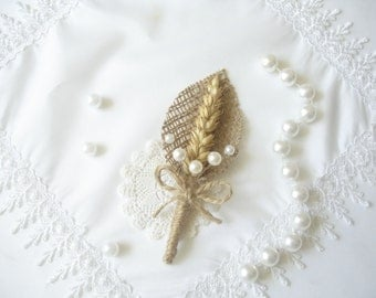 Set of 5 Boutonniere for Groom, Burlap Boutonniere, Wedding Rustic Boutonniere, Boutonniere with pearls