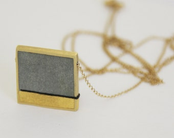 Square pendant necklace, Gold Leaf & Concrete Pendent, Contamporary gold necklace, Grey gold And Black Necklace