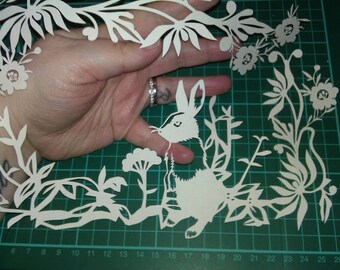 Cut your own Bunny Rabbit - PERSONAL Use Template for Papercutting JPEG -  woodland easter  rabbit countryside
