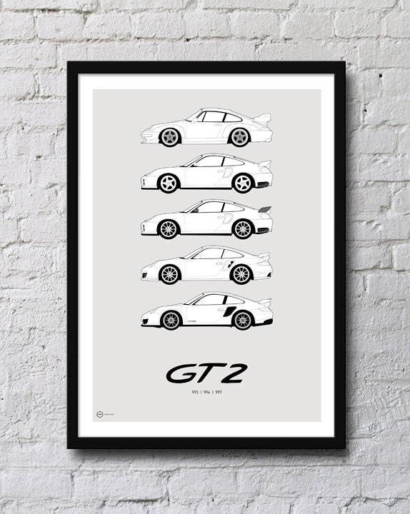 porsche 911 gt2 generations poster by hiveposters on etsy. Black Bedroom Furniture Sets. Home Design Ideas