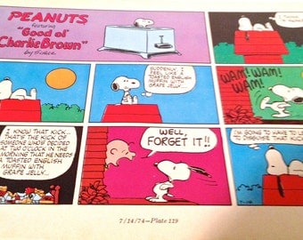 Snoopy cartoon, Hungry for English Muffin and Jelly, Charlie Brown Comic, 8 x 10, Collectible Art, Toast, 2 O'Clock in the Morning