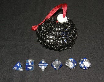 Chainmail Dice Bag, Black Stainless Steel, Small: Ready to Order