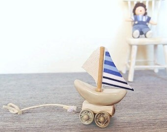 Dollhouse miniature toy ship / miniature 1:12 scale toy cart / miniature toys store / Marine miniature ship trolley / Dollhouse toy cart
