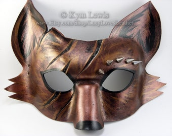 Masquerade Mask, Leather Spiked Fox Mask, Horror Mask, Cosplay Costume, Copper Fox, Leather Masquerade Mask, Fox Fursona
