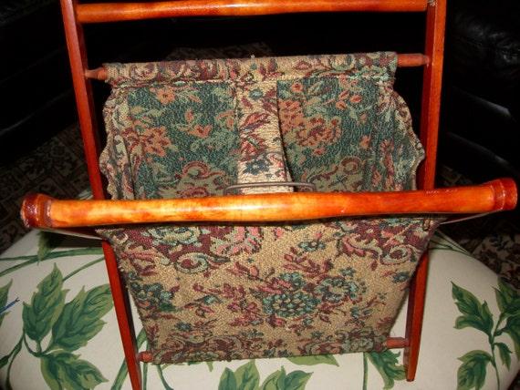 Vintage Folding Knitting Basket : Vintage folding knitting basket or bag tapestry style fabric