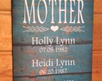 Mothers Day My Greatest Blessings Call Me Mom Mother Grandma Custom Name Wood Sign or Canvas Wall Art- Valentines Day, Christmas, Birthday