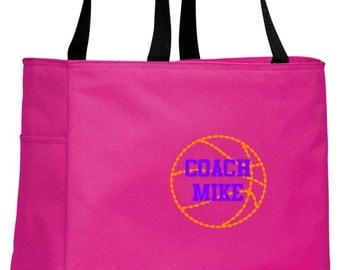 Personalized Basketball Tropical Pink Essential Tote with FREE Personalization & FREE SHIPPING    B0750