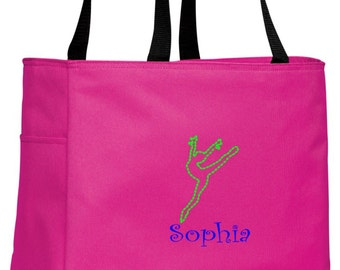 Personalized Gymnastics Dance Tropical Pink Essential Tote with FREE Personalization & FREE SHIPPING    B0750