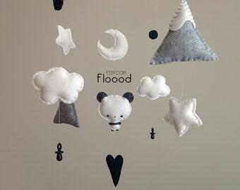 Panda Baby Mobile, Panda Nursery Decor, Baby Nursery Mobile, Felt Baby Mobile- Monochrome Baby Mobile- Black And White Nursery Decor