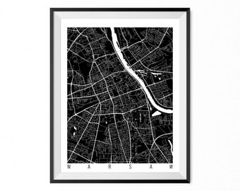 WARSAW Map Art Print / Poland Poster / Warsaw Wall Art Decor / Choose Size and Color