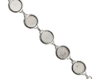 Blank Bezel Bracelet with 18mm Bezels, Sturdy Antiqued Silver Plated Bracelet  with 5 Blanks, Made in USA, #N161