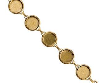 Blank Bezel Bracelet with 18mm Bezels, Sturdy 24K Gold Plated Bracelet with 5 Blanks, Made in USA, #N159