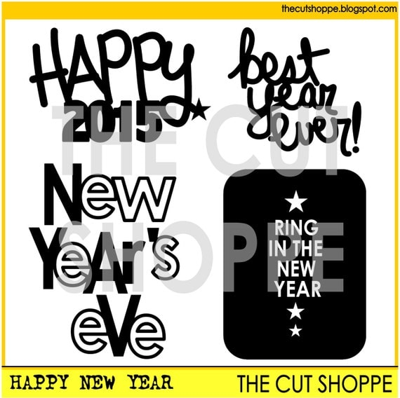 The Happy New Year cut file consists of 4 phrases, that can be used on your scrapbooking and papercrafting projects.