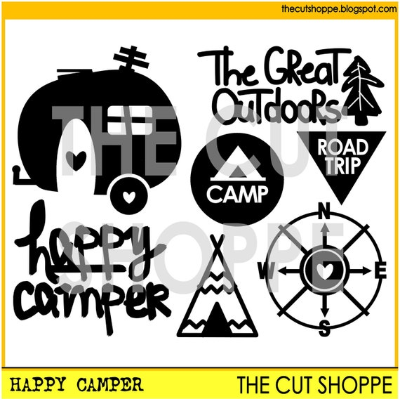 The Happy Camper cut file includes 7 travel/camping themed icons, that can be used for your scrapbooking and papercrafting projects.