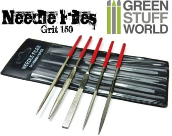 Set of 5 Diamond Needle files - 140mm - with Pouch - Real Diamond in the tips