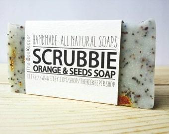 Scrubbie, Scrub Soap, Exfoliating Soap, Orange Soap, Cold Process Soap, Exfoliating Soap Bar, Natural Soap, Organic Soap, Vegan Soap