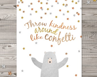 Bear Nursery Wall Art, Woodland Nursery Art, Faux Glitter Nursery Art, Confetti Nursery Wall Art, Bear nursery art, Throw Confetti around