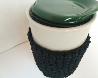 Black Cozy Coffee Cup Cozy Cup Sleeve Tea Cozy Crochet Coffee Sleeve, Reusable Coffee Cozy, Eco friendly cup cozy
