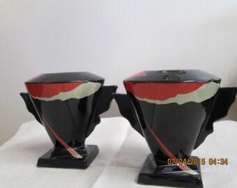 Vintage Art Deco Space Age Mid Century Modern Black Ceramic Candle Stick Holders