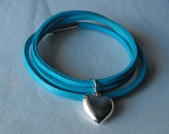 Leather Wrap Bracelet - Charm Bracelet  - Leather Jewelry (BD-706)