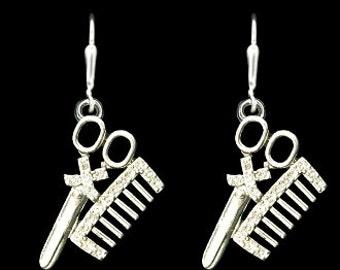 Hair Stylist Comb and Scissor Rhinestone Earrings