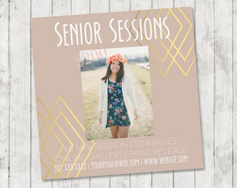 Modern Senior Photography Marketing Template | 5x5 Instant Download Template