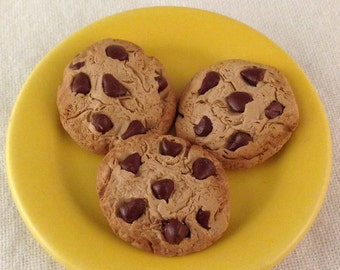 Chocolate chip cookies! (3 included)- miniature food (1/3 scale) for 18 in dolls (American Girl, etc)