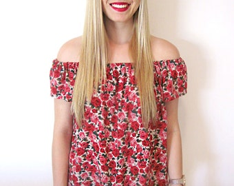 Red Rose Floral Top