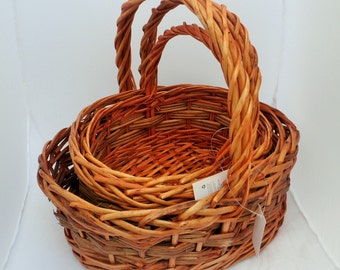 Woven Wicker Flower Baskets, Set of Three - Perfect for Hampers