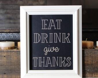 chalkboard, laser engraved, kitchen sign,kitchen,eat,drink,give thanks,sign