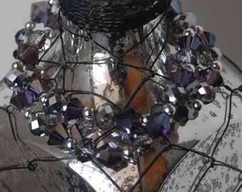 Double Strand Beaded Bracelet- Purple and Silver