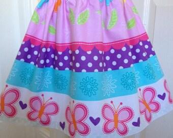 Girls skirt, Michael Miller butterfly kisses, age 4 to 5